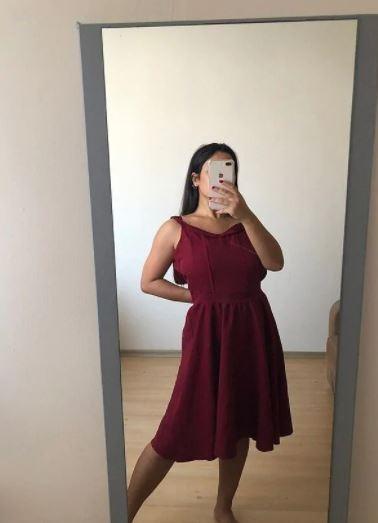 Bordo Elbise Giyim